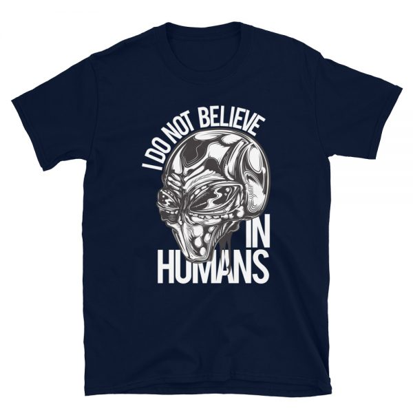 I don't Believe in Humans Grey Alien Shirt navy