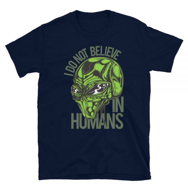 I don't Believe in Humans Green Alien Shirt navy