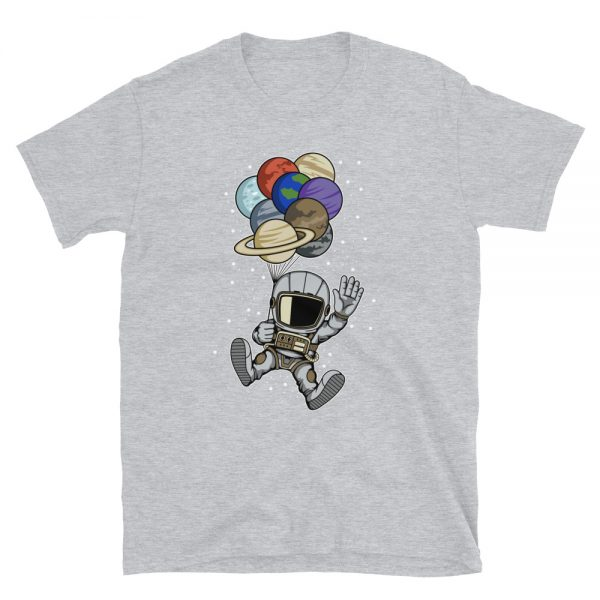 Astronaut Holding Planet Balloons Shirt grey heather