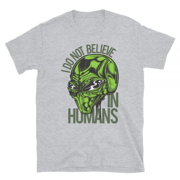 I don't Believe in Humans Green Alien Shirt grey heather